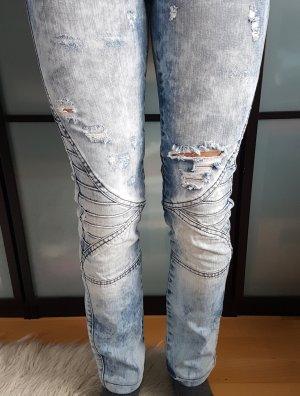 Biker Jeans, coole Waschung, XS/S