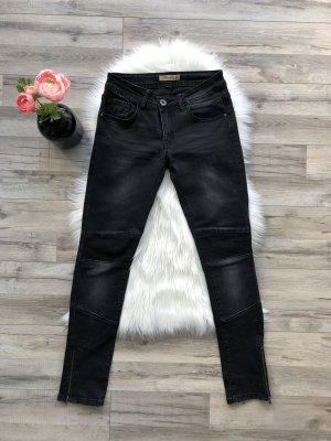 Jeans da motociclista nero-grigio scuro