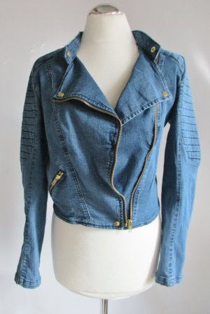 H&M Biker Jacket blue-steel blue cotton