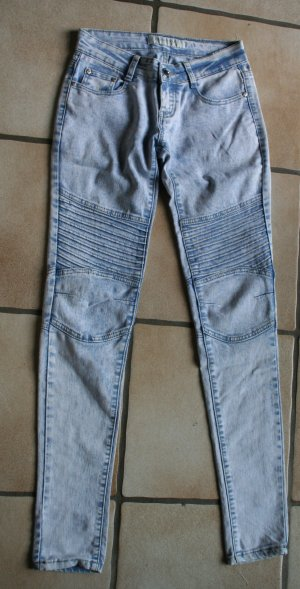 Jeans de moto bleu pâle tissu mixte