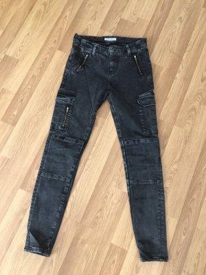 Biker Jeans Skinny grau von Zara in 34