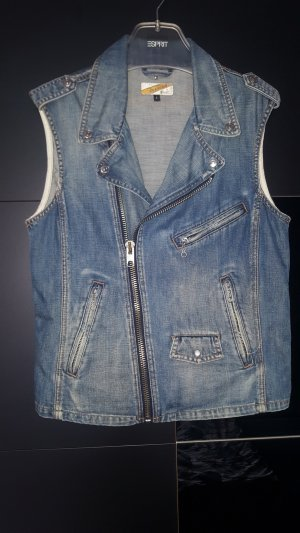 Schott NYC Denim Vest cornflower blue
