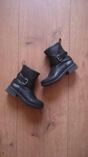 Biker Kunstleder Boots Stiefel Stiefeletten schwarz 37