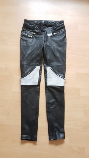 Tigha Pantalón de cuero blanco-negro