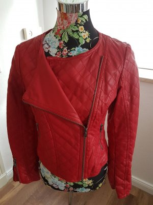 Biker- Lederimitat-Jacke rot Größe 36