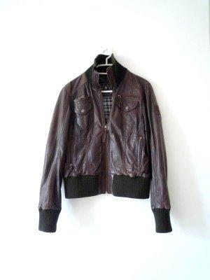 *Biker* Lederjacke, Bomber-Stil mit Textilbund, von GIPSY