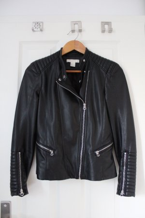 H&M Faux Leather Jacket black-light grey