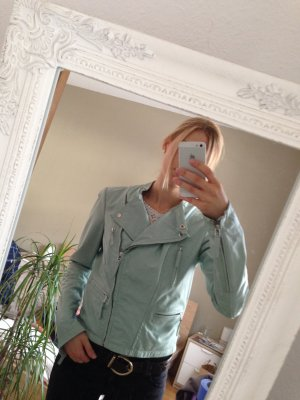 Biker-Lederjacke in mint
