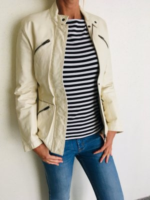 Stefanel Biker Jacket cream-white leather
