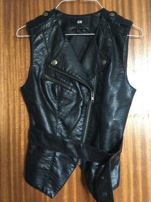 H&M Chaleco de cuero negro
