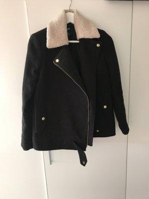 Biker Mantel schwarz h&m beige mit Details