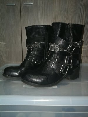 Ankle Boots black-silver-colored