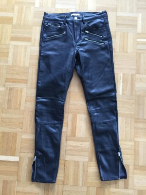 H&M Low-Rise Trousers black imitation leather
