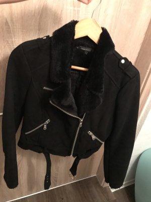 Zara Giacca in eco pelliccia nero-argento
