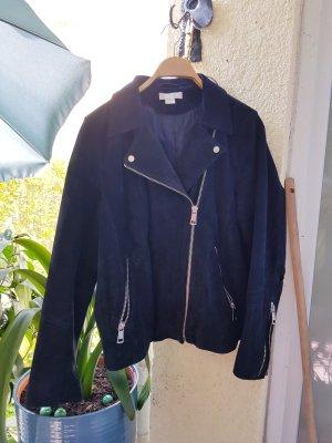 H&M Leather Jacket dark blue
