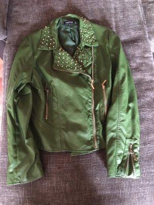 Vestino Biker Jacket dark green imitation leather