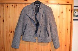 Bikerjacke beige-braun Tweed-Look