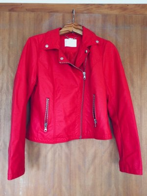 Biker Jacket red-brick red mixture fibre
