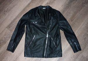 Cubus Biker Jacket black-silver-colored imitation leather