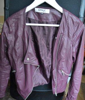 Bikerjacke - Lederlook -  plumfarben - 36