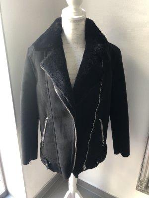 H&M Veste motard noir-argenté polyester