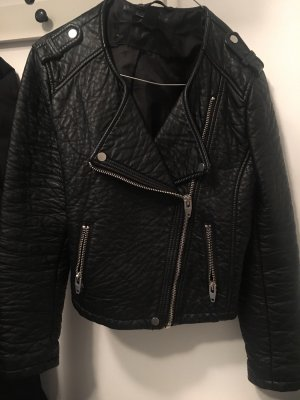 H&M Giacca in pelle nero-argento