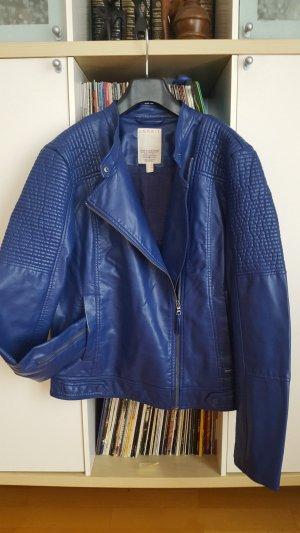 Esprit Chaqueta de motociclista azul Imitación de cuero