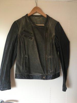 Promod Faux Leather Jacket dark green-khaki