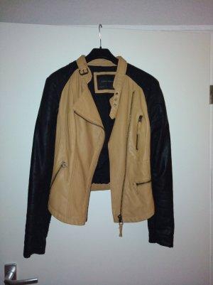 Zara Basic Biker Jacket black-camel