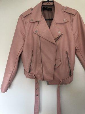 Zara Chaqueta de motociclista rosa