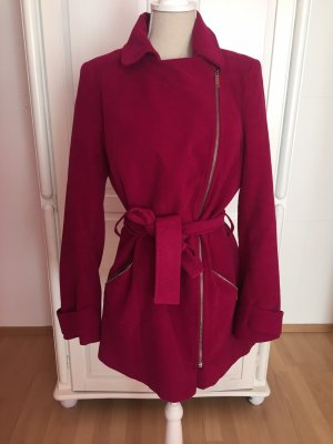 Bikermantel magenta rot pink Jacke mit Gürtel band