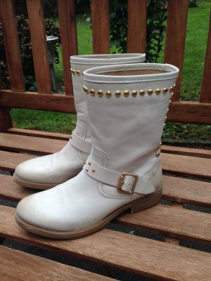 Halfhoge laarzen room-licht beige Leer