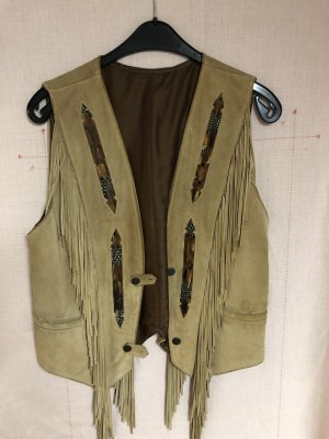 Leather Vest light brown-cognac-coloured