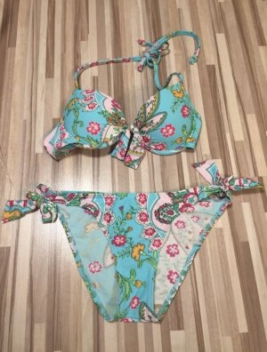 Buffalo Bikini lichtblauw-framboosrood