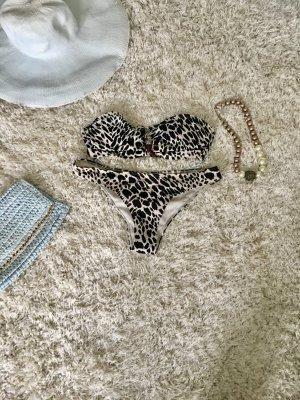 Bikini Bademode Leopardenmuster 38 S M schwarz weiß Urlaub Strand Sommer Sonne