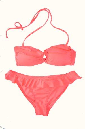 Bikini Bandeau Neonpink Oberteil 75A / Unterteil Gr. 36