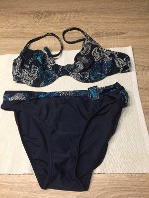 Bikini dunkelblaue Hose/ bunter BH