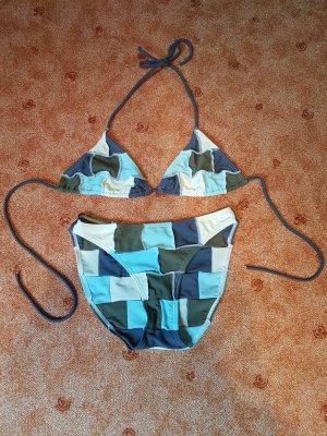 Bikini lichtblauw-khaki