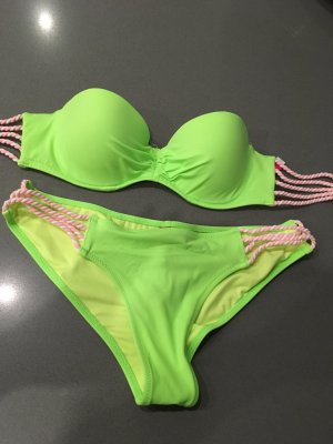 Bikini grün pink orange Victorias Secret xs s 70 b 75b Sommer Blogger Push Up