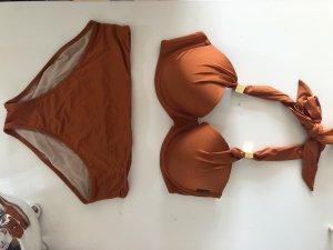 Bikini mit Bügel und Schale Neckholder orange 75D