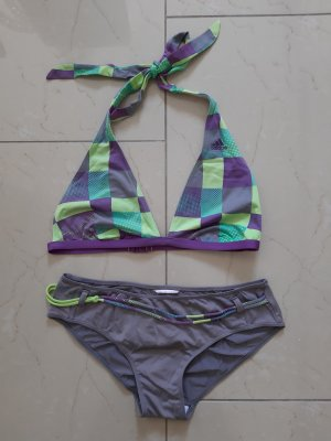 Bikini Neckholder von Adidas Gr. 38 flieder hell grün grau