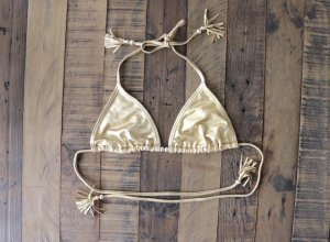 Bikini Oberteil gold Fransen Gr. XS