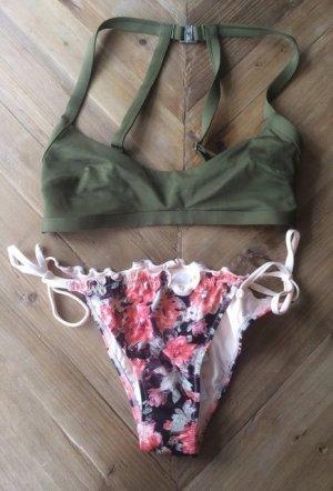 Bikini olivgrün Khaki Nude brazilian Höschen Blümchen XS / S - 34 / 36 75B NEU