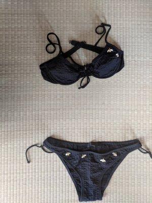 Bikini schwarz mit Bienen-Stickmotiv
