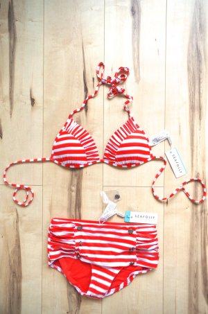 Bikini Seafolly Matrose High waist rot weiß Größe 36 , NEU