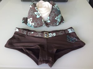 Censored Bikini dark brown-turquoise