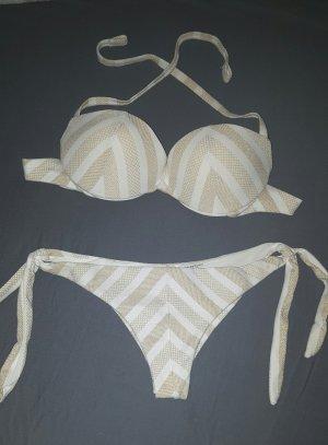 Bikini von Calzedonia in Gold / weiß