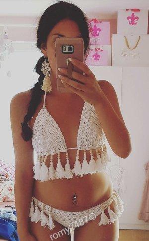 Bikini weiß Fransen Bommel S crochet Häkel hipster blogger boho hippie indie