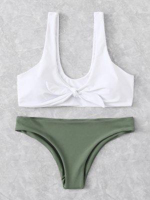 Bikini weiß khaki Knoten Schleife neu