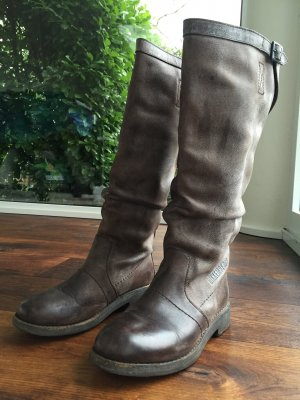 Bikkembergs Wide Calf Boots light brown leather